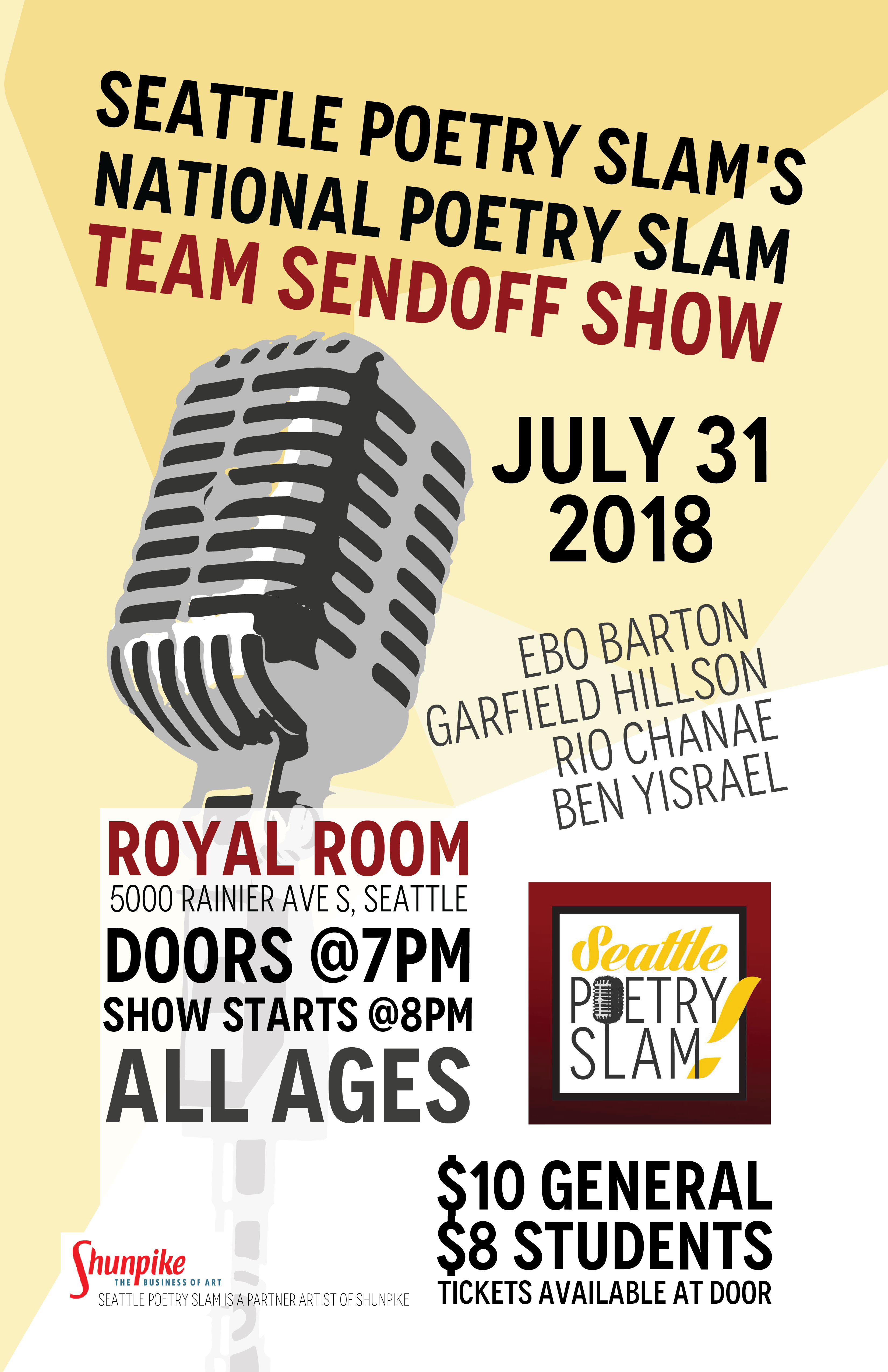 Seattle Poetry Slam National Team Send Off Show Tickets